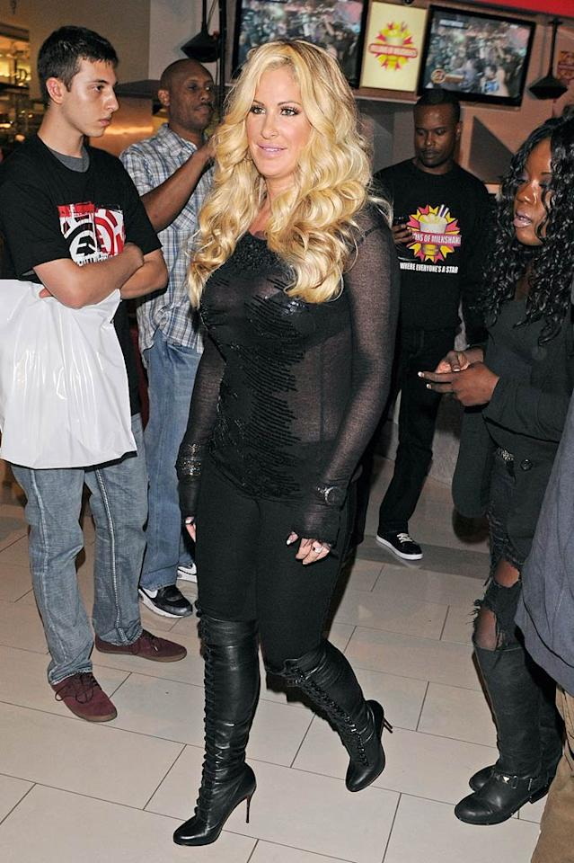 """""""The Real Housewives of Atlanta"""" star Kim Zolciak made an appearance at Millions of Milkshakes in Culver City, California, wearing one of her many wigs and a skintight ensemble more appropriate for a club than a sweet shop at the mall! Jean Baptiste Lacroix/<a href=""""http://www.wireimage.com"""" target=""""new"""">WireImage.com</a> - October 19, 2010"""