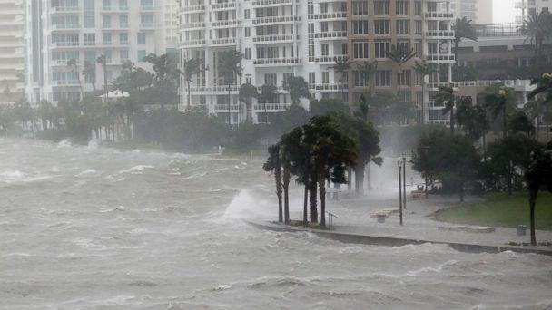 PHOTO: Waves crash over a seawall at the mouth of the Miami River from Biscayne Bay, Fla., as Hurricane Irma passes by, Sept. 10, 2017, in Miami. (Wilfredo Lee/AP)