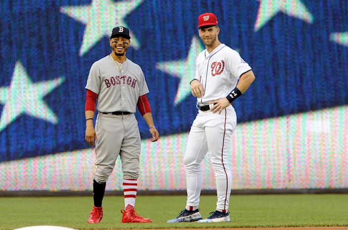 Will Mookie Betts receive $330 million in free agency? Bryce Harper hopes so. (Getty Images)