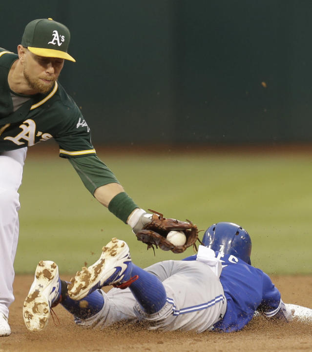 Oakland Athletics' Ben Zobrist, left, tags out Toronto Blue Jays' Jose Reyes during an attempted steal of second base in the third inning of a baseball game Tuesday, July 21, 2015, in Oakland, Calif. (AP Photo/Ben Margot)
