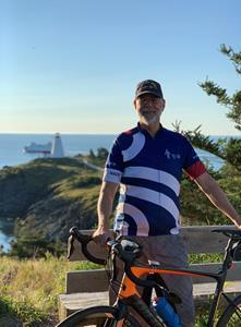 Our teammate Jason Cheney is a retired RCN Naval Sea Logistics Officer (33+ years) currently working on the Canadian Surface Combatants Project at Irving Shipbuilding. He has been riding in the Navy Ride since it began. This year he has logged 551.06 KM … and counting! Recently Jason rode 57km on the coastal roads of Grand Manan Island, NB, departing from and returning to the iconic Swallowtail Light house.