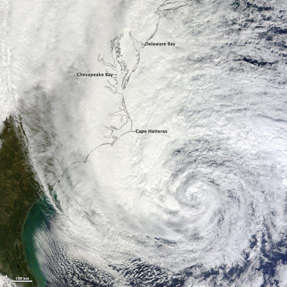 At noon Eastern Daylight Time (16:00 Universal Time) on October 28, 2012, the Moderate Resolution Imaging Spectroradiometer (MODIS) on NASA's Terra satellite acquired this image of Hurricane Sandy off the southeastern United States.