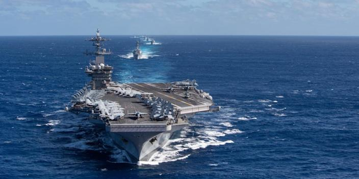 The Theodore Roosevelt Carrier Strike Group in formation in the Indo-Pacific region on January 25.