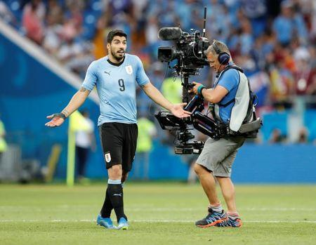 Soccer Football - World Cup - Group A - Uruguay vs Saudi Arabia - Rostov Arena, Rostov-on-Don, Russia - June 20, 2018 Uruguay's Luis Suarez gestures after the match REUTERS/Carlos Garcia Rawlins