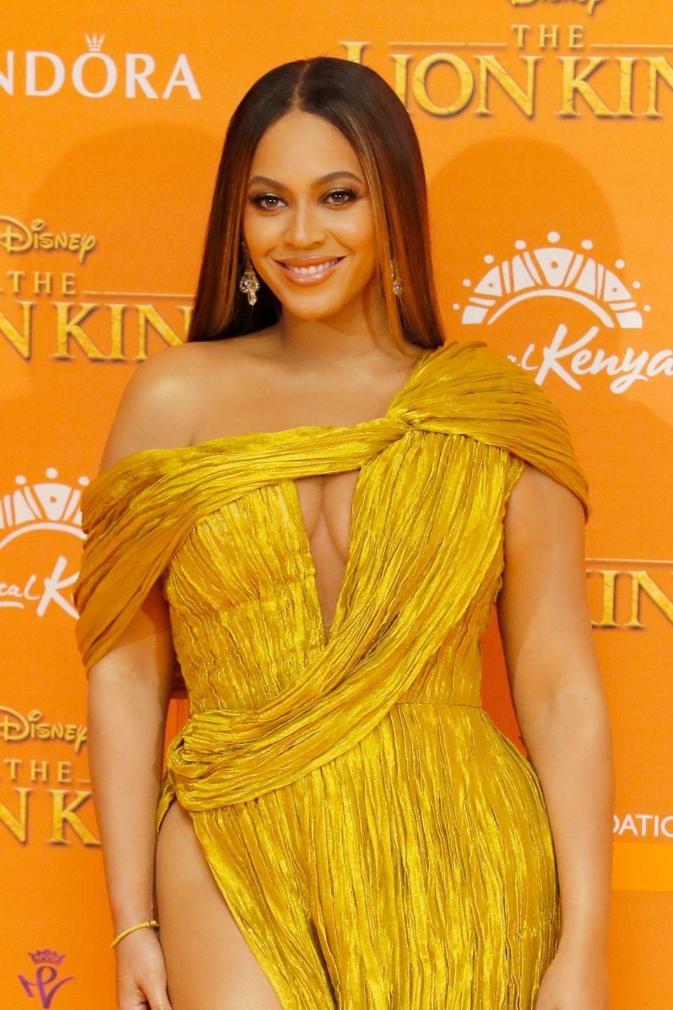 <p>While <strong>Beyoncé</strong> is known for her honey-toned locks, she debuted a richer chestnut balayage for the premiere of <em>The </em><em>Lion King</em>. </p>