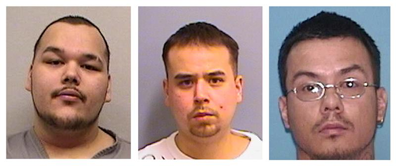 FILE - This file photo combo shows, from left, alleged Native Mob gang members Arthur Francis Cree, William Earl Morris, and Wakinyon Wakan McArthur, right. Three alleged members of a violent American Indian gang known for terrorizing people in the Upper Midwest were convicted Tuesday March 19, 2013 in what authorities called one of the largest gang cases to come out of Indian Country. (AP Photos/Minn. Dept. of Corrections & U.S. Marshall's Service, File)
