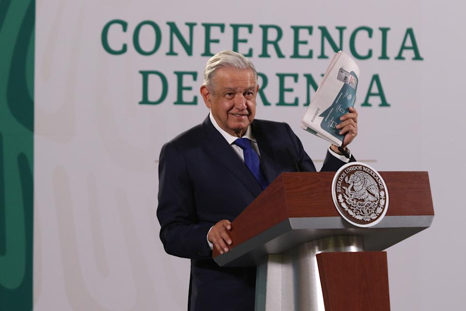 MEXICO CITY, MEXICO - AUGUST 26, 2021: Mexican President Andrés Manuel López Obrador speaks while answering questions from the media during his daily morning briefing at the National Palace on August 26, 2021 in Mexico City, Mexico.  (Photo credit should read Ismael Rosas/ Eyepix Group/Barcroft Media via Getty Images)