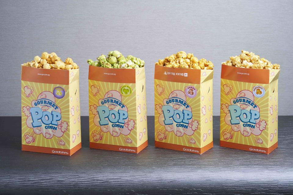 (from left to right) Cheese, Seaweed Wasabi, Curry, and Caramel Gourmet Popcorn (PHOTO: Golden Village Multiplex)