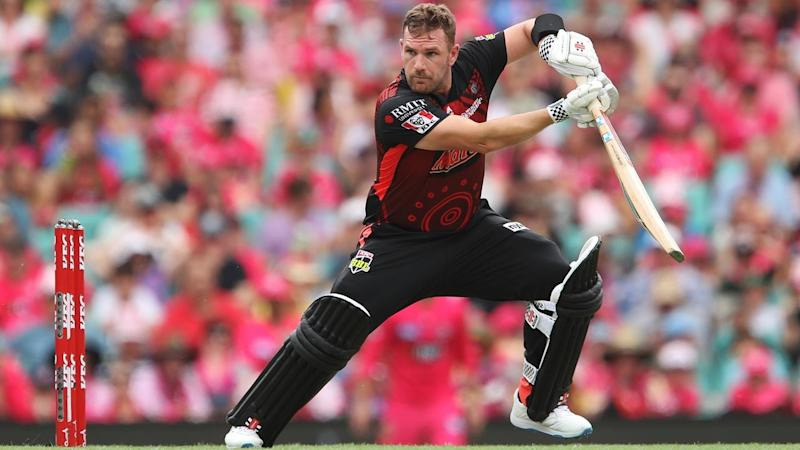 Aaron Finch has belted 109 with seven sixes in the Melbourne Renegades' BBL match at the SCG