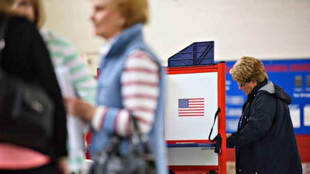 PHOTO: A woman fills out a ballot at a polling place during Super Tuesday voting on March 3, 2020, in St. Pauls, N.C. (Melissa Sue Gerrits/Getty Images)