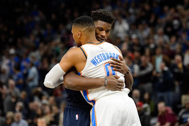 "<a class=""link rapid-noclick-resp"" href=""/nba/players/4912/"" data-ylk=""slk:Jimmy Butler"">Jimmy Butler</a> and <a class=""link rapid-noclick-resp"" href=""/nba/players/4390/"" data-ylk=""slk:Russell Westbrook"">Russell Westbrook</a> congratulate one another on their respective All-Star selections. (Getty)"