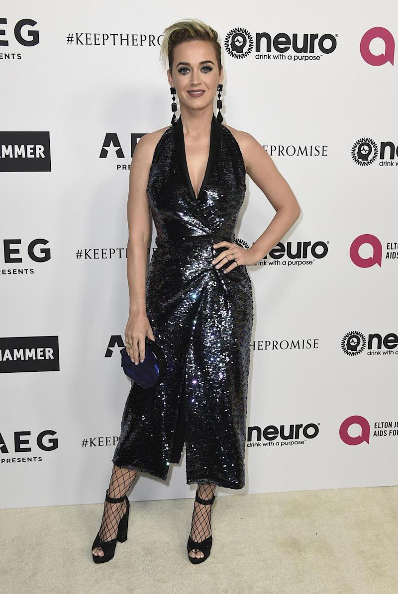 Singer Katy Perry arrives at Elton John's 70th in Los Angeles on Saturday (Jordan Strauss/Invision/AP)