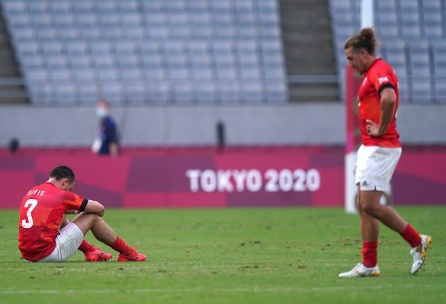 Great Britain's Alex Davis (left) and Dan Bibby appear dejected after defeat in the Men's Rugby Sevens bronze medal match