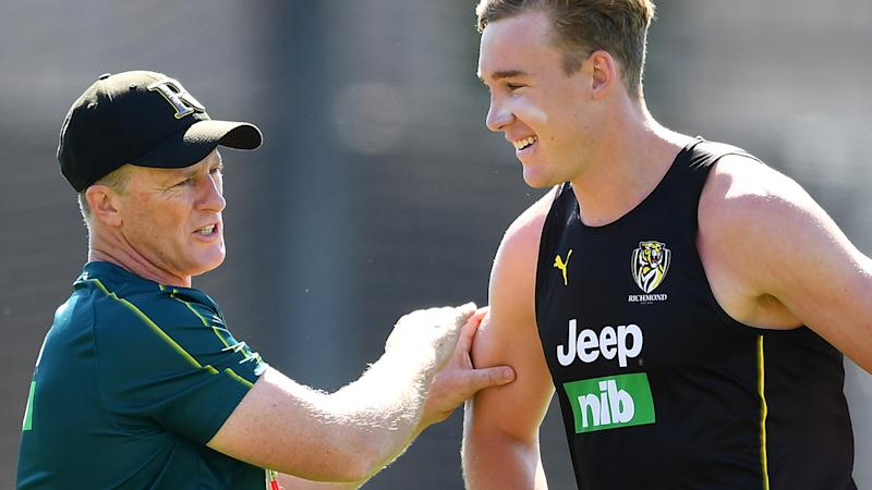 Richmond coach Damien Hardwick has launched an impassioned defence of star forward Tom Lynch, who has been heavily criticised for a string of striking offences. (Photo by Quinn Rooney/Getty Images)