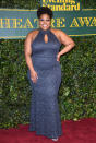 <p>The 'Dreamgirls' stage star took over the red carpet in a sparkling blue keyhole gown. <i>[Photo: Getty]</i> </p>
