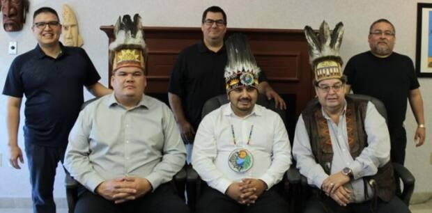 Mawiw Council, made up of the three largest rural First Nations communities, is calling on the New Brunswick government to launch an investigation into day schools. From front left: Arren Sock, Chief of Elsipogtog, Ross Perley, Chief of Neqotkuk and Alvery Paul, Chief of Esgenoopetitj. (Mawiw Council - image credit)