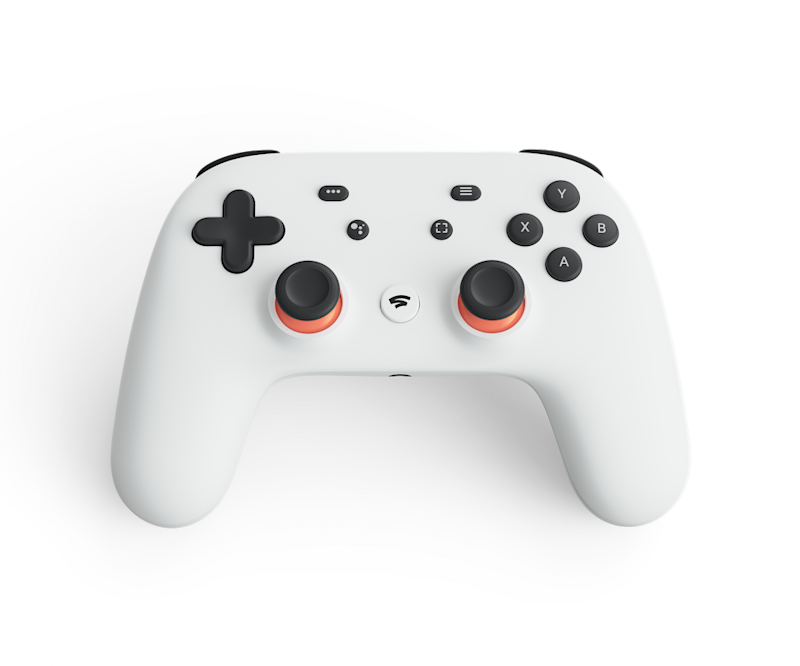 A white Stadia controller with black buttons.
