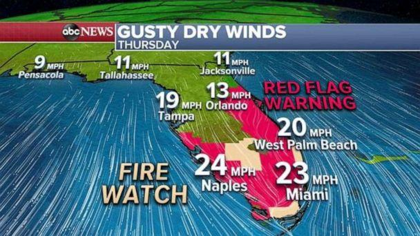 PHOTO: Gusty winds and dry conditions will move into central and southern Florida today where Red Flag Warnings and Fire Watches have been issued for the area. (ABC News)