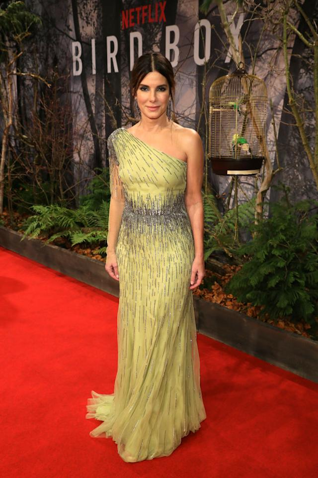 <p>For the premiere of new Netflix thriller 'Bird Box', Sandra Bullock opted for a glitzy one-shoulder dress by Alberta Ferretti. <em>[Photo: Getty]</em> </p>