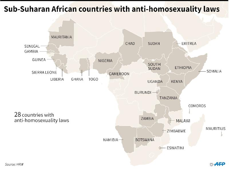 Map of sub-Saharan Africa showing the 28 countries with anti-homosexuality laws, according to Human Rights Watch. (AFP Photo/)