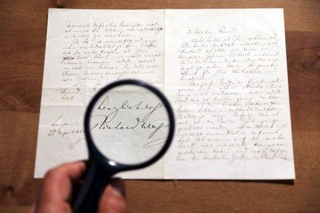 A letter handwritten by composer Richard Wagner in 1869 is seen before it is sold at an auction in Jerusalem, April 24, 2018. REUTERS/Ammar Awad