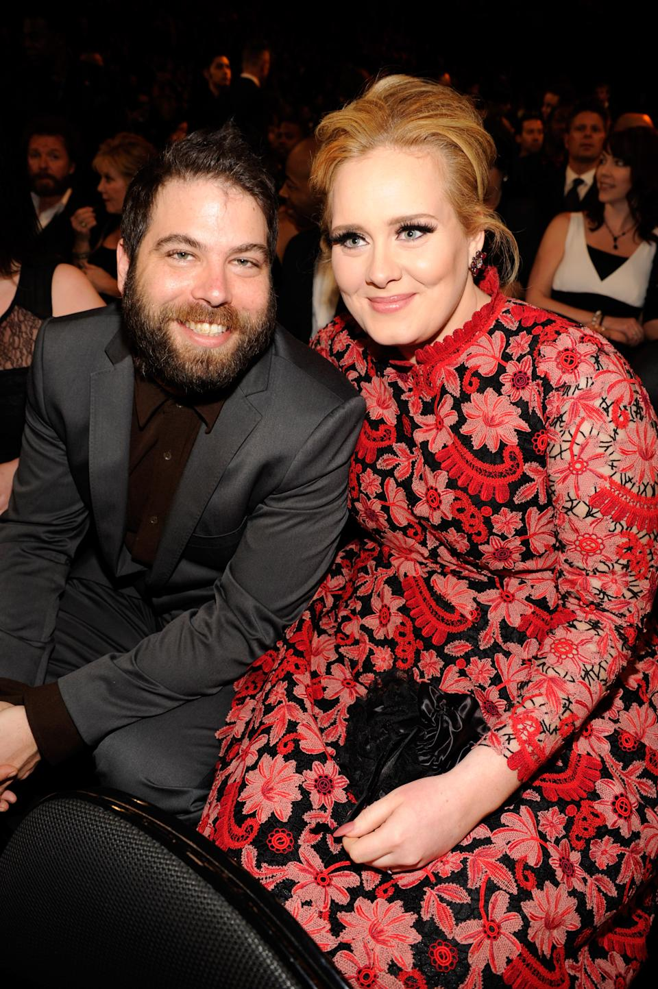 Adele (R) and Simon Konecki attend the 55th Annual GRAMMY Awards at STAPLES Center on February 10, 2013 in Los Angeles, California.  (Photo by Kevin Mazur/WireImage)