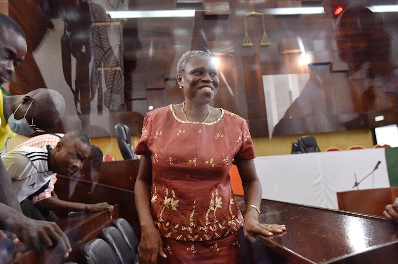 Ivory Coast's former first lady Simone Gbagbo attends the opening hearing of her trial on charges of crimes against humanity at the courthouse of Abidjan, on May 9, 2016 (AFP Photo/Issouf Sanogo)