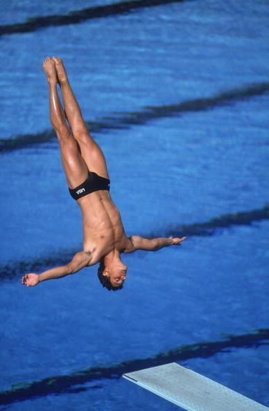 UNITED STATES - AUGUST 12: Diving: 1984 Summer Olympics, USA Greg Louganis in action during springboard, Los Angeles, CA 7/28/1984--8/12/1984 (Photo by Andy Hayt/Sports Illustrated/Getty Images) (SetNumber: X30346 R7 F29)