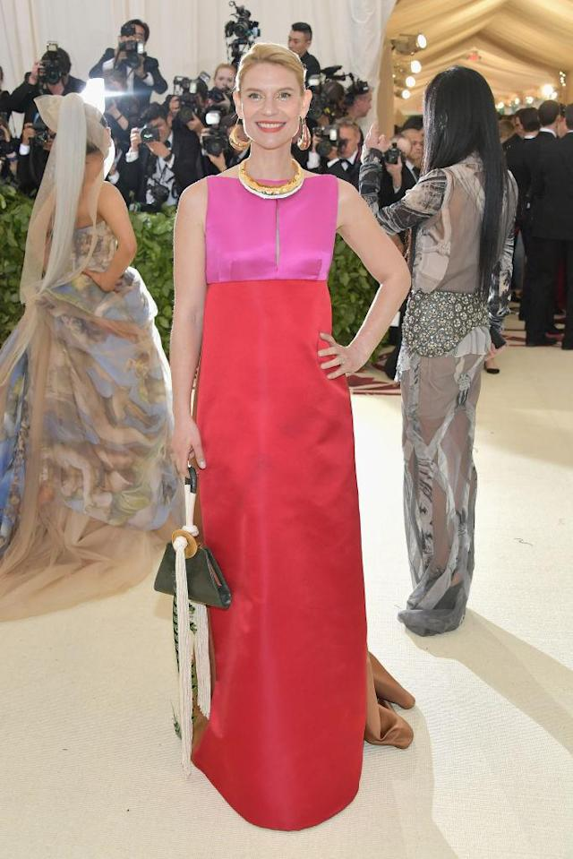 <p>Claire Danes attends the Heavenly Bodies: Fashion & The Catholic Imagination Costume Institute Gala at The Metropolitan Museum of Art on May 7, 2018 in New York City. (Photo: Getty Images) </p>