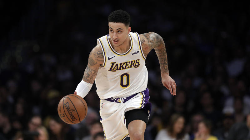 Los Angeles Lakers' Kyle Kuzma during an NBA basketball game Sunday, March 24, 2019, in Los Angeles. (AP Photo/Marcio Jose Sanchez)