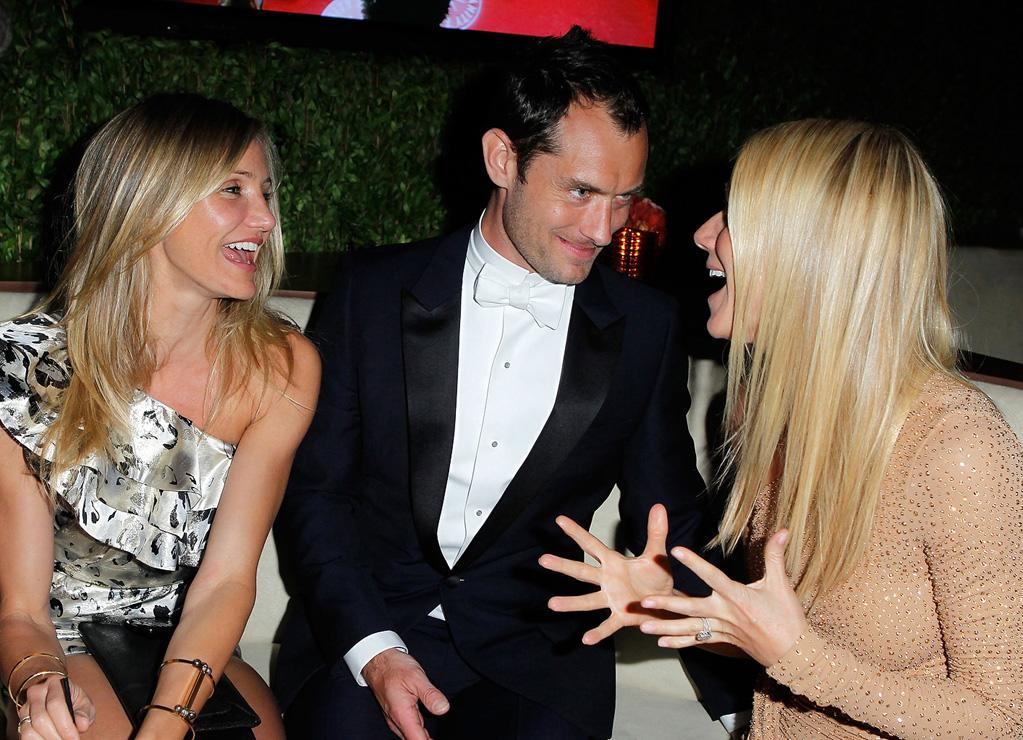 Cameron Diaz and Gwyneth Paltrow (in Michael Kors) gossiped, while Jude Law pretended to listen.