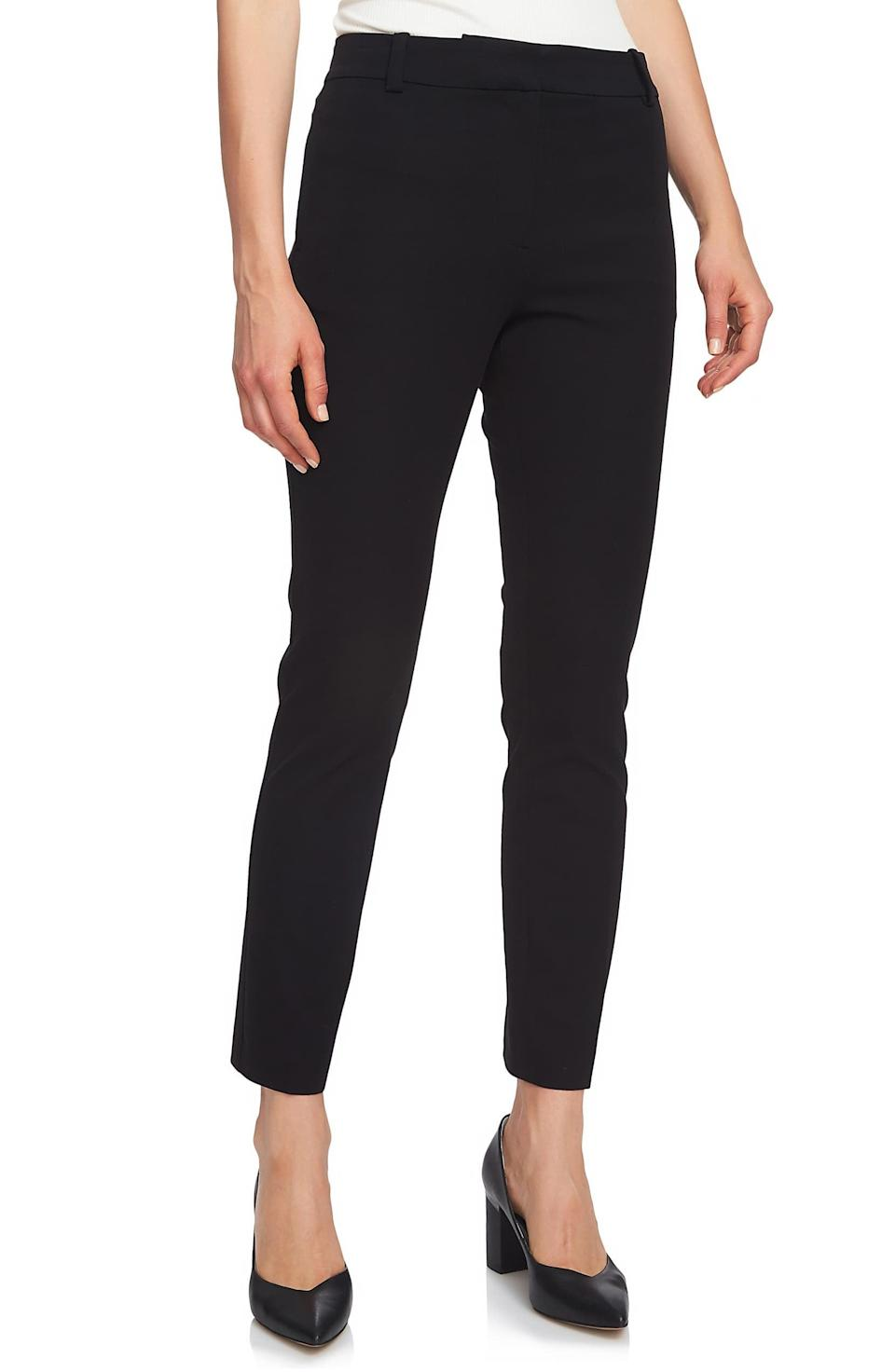 "<p>Remember when mom said you need a pair of good work ""slacks""? Well, you don't necessarily need that pleated, wide-leg pair she picked out, but she wasn't wrong. You do need a pair of slim, skinny <a href=""https://www.popsugar.com/buy/black-pants-551950?p_name=black%20pants&retailer=shop.nordstrom.com&pid=551950&price=79&evar1=fab%3Aus&evar9=34097656&evar98=https%3A%2F%2Fwww.popsugar.com%2Ffashion%2Fphoto-gallery%2F34097656%2Fimage%2F34097665%2FStaple-Trousers&list1=shopping%2Celizabeth%20and%20james%2Cstyle%20how%20to&prop13=mobile&pdata=1"" class=""link rapid-noclick-resp"" rel=""nofollow noopener"" target=""_blank"" data-ylk=""slk:black pants"">black pants</a> ($79) as an alternative to jeans. You can wear them with your blazer as an alternative to a suit, add them to a silky blouse for cocktails, or dress them with a button-down for something pulled together. They're a piece you'll rely on season after season, year after year, so make sure you pick a pair that really fits you.</p>"