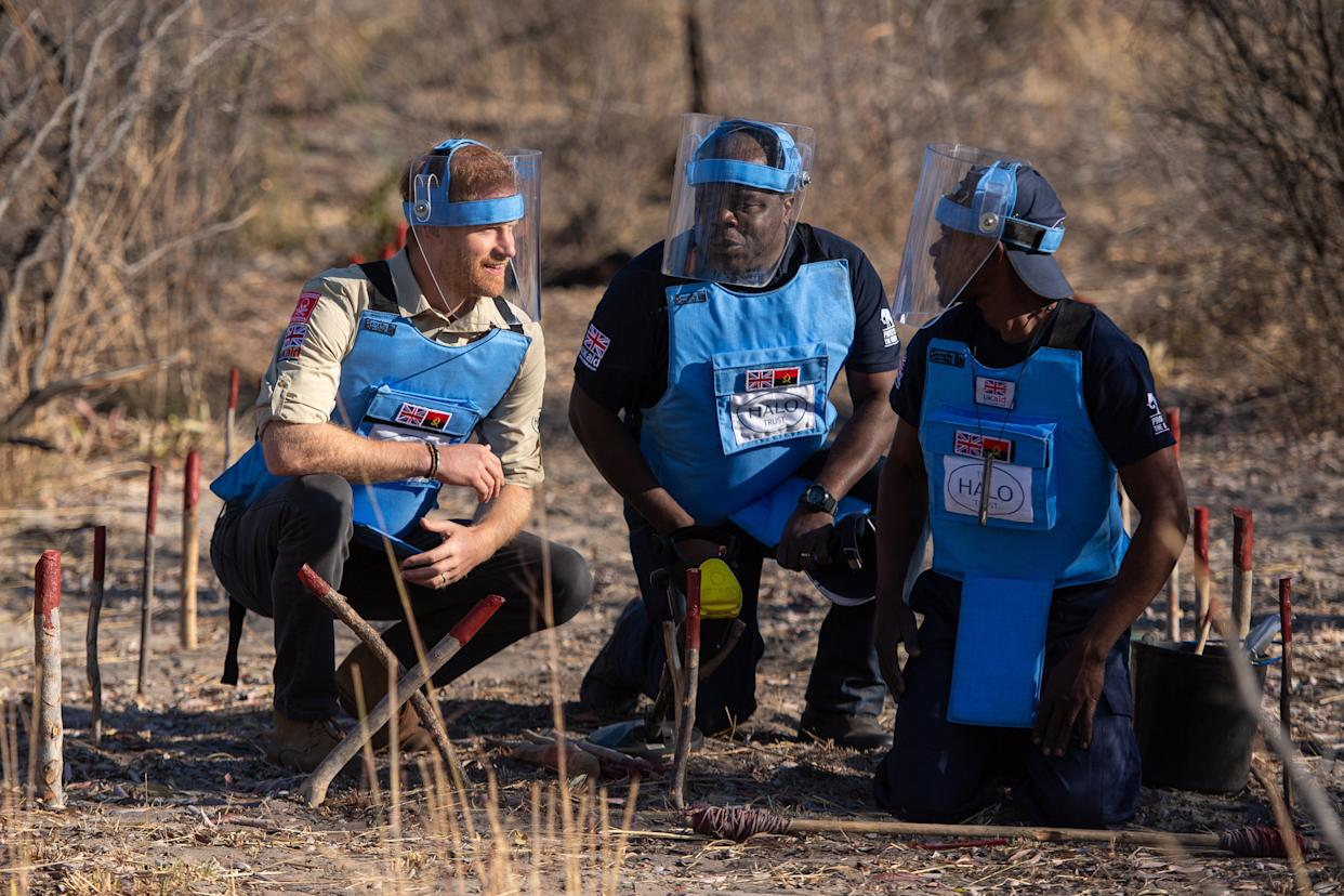 DIRICO, ANGOLA - SEPTEMBER 27: Prince Harry, Duke of Sussex with Jose Antonio (C), of the Halo Trust and a mine clearance worker on a walk through of a minefield in Dirico, during a visit to see the work of landmine clearance charity the Halo Trust, on day five of the royal tour of Africa on September 27, 2019 in Dirico, Angola. (Photo by Dominic Lipinski - Pool /Getty Images)