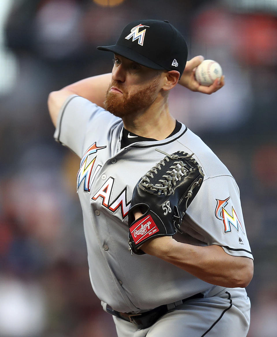 Miami Marlins pitcher Dan Straily works against the San Francisco Giants during the first inning of a baseball game Tuesday, June 19, 2018, in San Francisco. (AP Photo/Ben Margot)