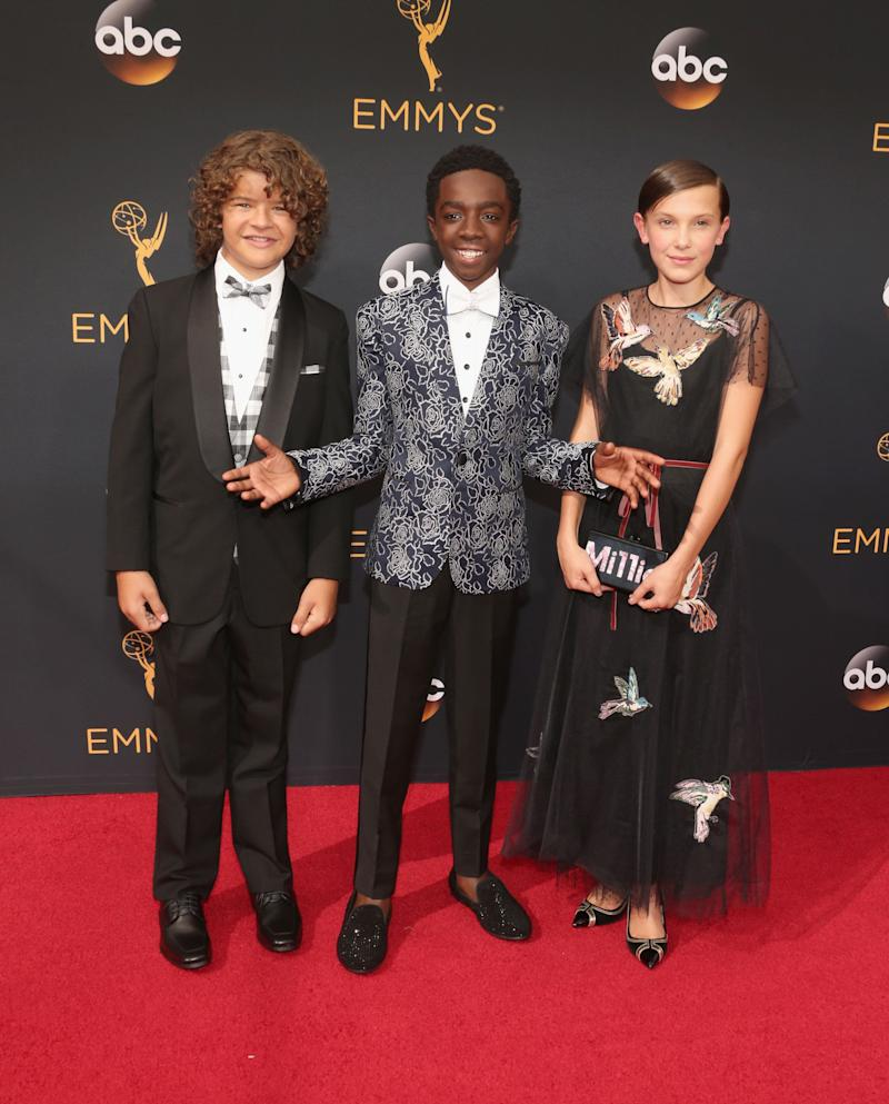 LOS ANGELES, CA - SEPTEMBER 18: Actors (L-R) Gaten Matarazzo, Caleb McLaughlin, and Millie Bobby Brown attend the 68th Annual Primetime Emmy Awards at Microsoft Theater on September 18, 2016 in Los Angeles, California. (Photo by Todd Williamson/Getty Images)