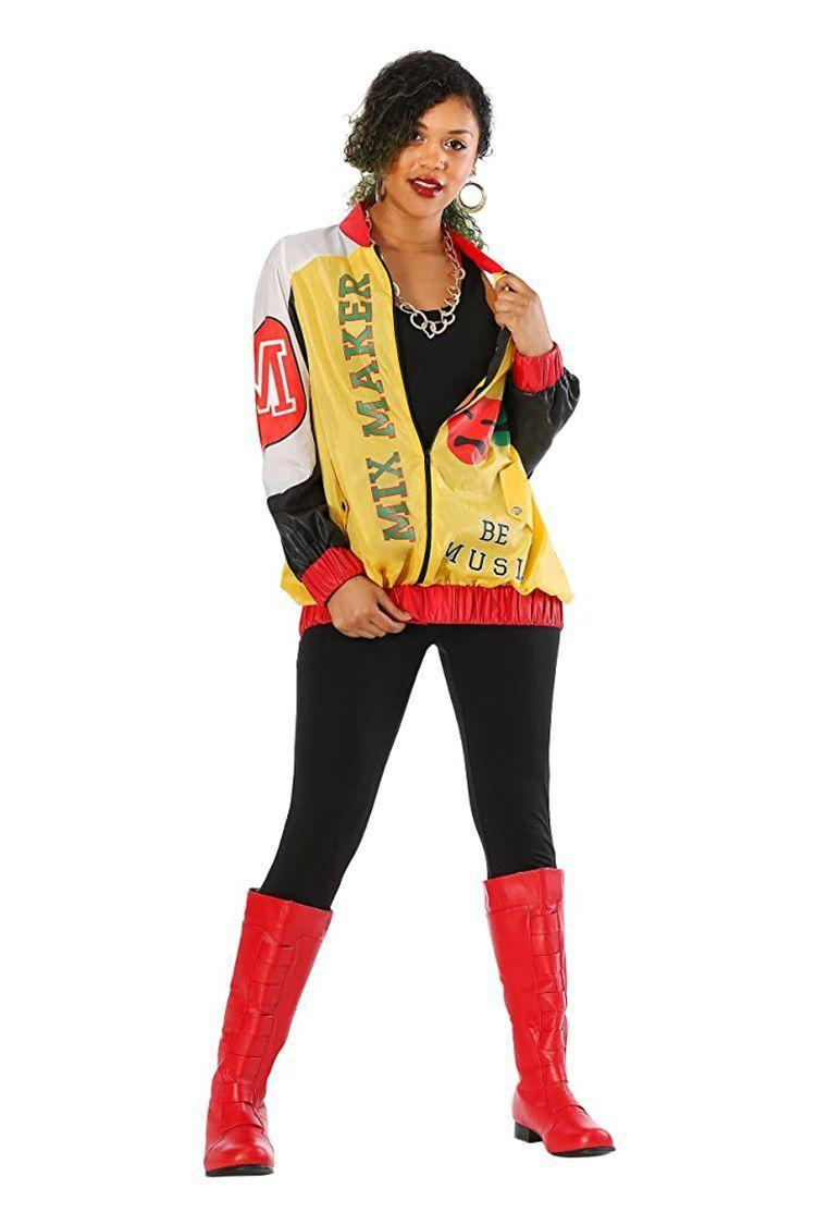 """<p><strong>Fun Costumes</strong></p><p>amazon.com</p><p><strong>$49.99</strong></p><p><a href=""""https://www.amazon.com/dp/B07BB28FRD?tag=syn-yahoo-20&ascsubtag=%5Bartid%7C2141.g.33458919%5Bsrc%7Cyahoo-us"""" rel=""""nofollow noopener"""" target=""""_blank"""" data-ylk=""""slk:Shop Now"""" class=""""link rapid-noclick-resp"""">Shop Now</a></p><p>Oooh, baby, baby! Channel your Salt-N-Pepa alter ego this Halloween by throwing it back to the trio's <em>Push It</em> music video. This super simple costume comes alive with the help of the legendary """"Mix Maker"""" bomber jacket. Wear it over a <a href=""""https://www.amazon.com/Spaghetti-Bodycon-Jumpsuits-Rompers-Playsuit/dp/B072LX5BC8/?tag=syn-yahoo-20&ascsubtag=%5Bartid%7C2141.g.33458919%5Bsrc%7Cyahoo-us"""" rel=""""nofollow noopener"""" target=""""_blank"""" data-ylk=""""slk:black unitard"""" class=""""link rapid-noclick-resp"""">black unitard</a> or a <a href=""""https://www.amazon.com/Hanes-Womens-Stretch-Cotton-Built/dp/B01MYZ0RMF/?tag=syn-yahoo-20&ascsubtag=%5Bartid%7C2141.g.33458919%5Bsrc%7Cyahoo-us"""" rel=""""nofollow noopener"""" target=""""_blank"""" data-ylk=""""slk:tank top"""" class=""""link rapid-noclick-resp"""">tank top</a> with <a href=""""https://www.amazon.com/SATINA-High-Waisted-Leggings-Colors/dp/B074R27W46/?tag=syn-yahoo-20&ascsubtag=%5Bartid%7C2141.g.33458919%5Bsrc%7Cyahoo-us"""" rel=""""nofollow noopener"""" target=""""_blank"""" data-ylk=""""slk:leggings"""" class=""""link rapid-noclick-resp"""">leggings</a> and don <a href=""""https://www.amazon.com/Ellie-Shoes-Womens-Gogo-Boot/dp/B00FK8EDYQ/?tag=syn-yahoo-20&ascsubtag=%5Bartid%7C2141.g.33458919%5Bsrc%7Cyahoo-us"""" rel=""""nofollow noopener"""" target=""""_blank"""" data-ylk=""""slk:red boots"""" class=""""link rapid-noclick-resp"""">red boots</a> and you'll look hella fly. </p>"""