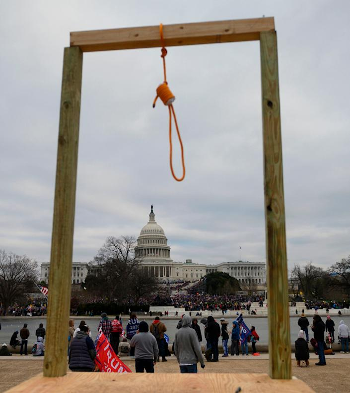 A noose on makeshift gallows outside the U.S. Capitol on Wednesday, whensupporters of President Donald Trump forced their way into the building. Much of the imagery that has emerged in subsequent days has captured just how violent the siege was. (Photo: ANDREW CABALLERO-REYNOLDS via Getty Images)