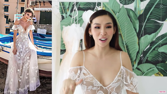 The bride-to-be compared what she got to what was advertised. Photo: YouTube/Tina Yong