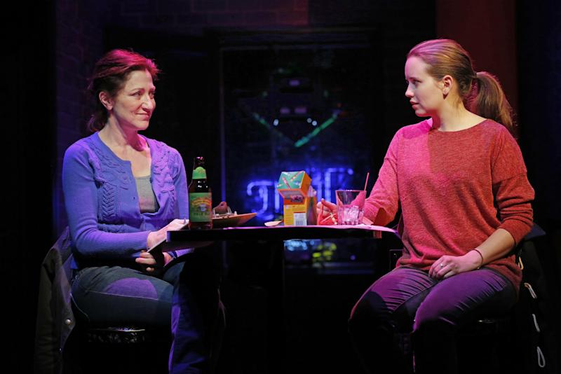 "This undated theater image released by Boneau/Bryan-Brown shows Edie Falco, left, and Phoebe Strole during a performance of ""The Madrid."" (AP Photo/Boneau/Bryan-Brown, Joan Marcus)"
