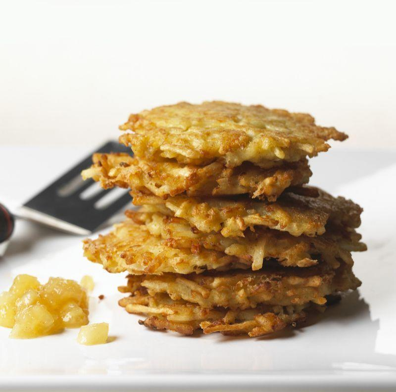"""<p>There's nothing like the original. This straight-up traditional recipe for potato latkes is the best version of the classic: smooth and luscious on the inside, crispy and crunchy on the outside. <a href=""""https://www.yahoo.com/food/potato-pancakes-straight-from-a-jewish-105358387061.html"""" data-ylk=""""slk:Get the recipe here.;outcm:mb_qualified_link;_E:mb_qualified_link;ct:story;"""" class=""""link rapid-noclick-resp yahoo-link"""">Get the recipe here.</a> (<i>Photo: Michael Waring/Stockfood)</i></p>"""