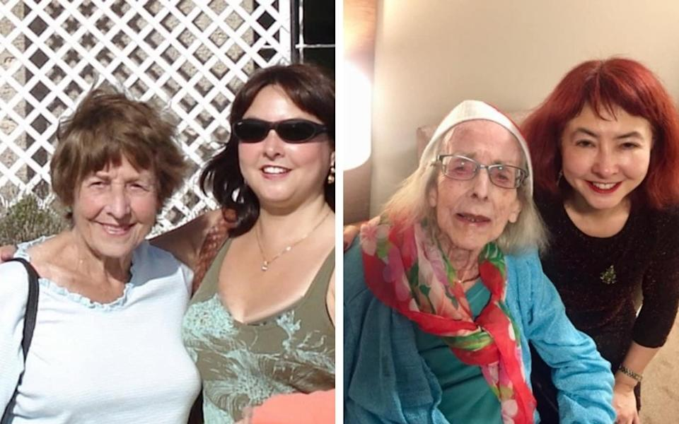 Glenys and Ming in 2006, and in 2018 in the care home