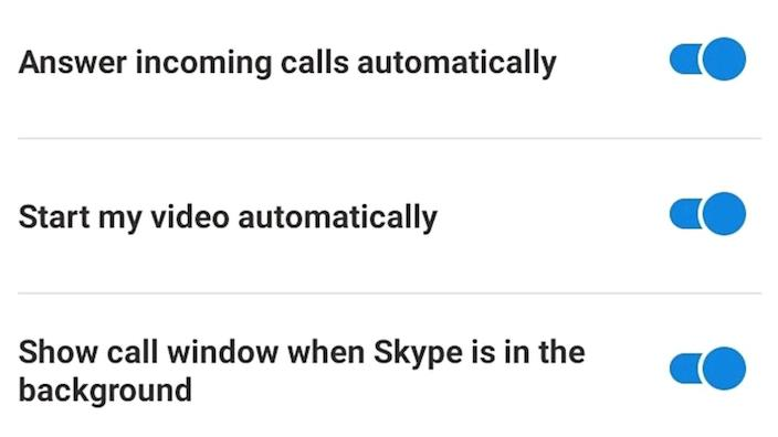 "Skype ""Calling Settings"" menu, to enable a phone to answer automatically with video and sound switched on"