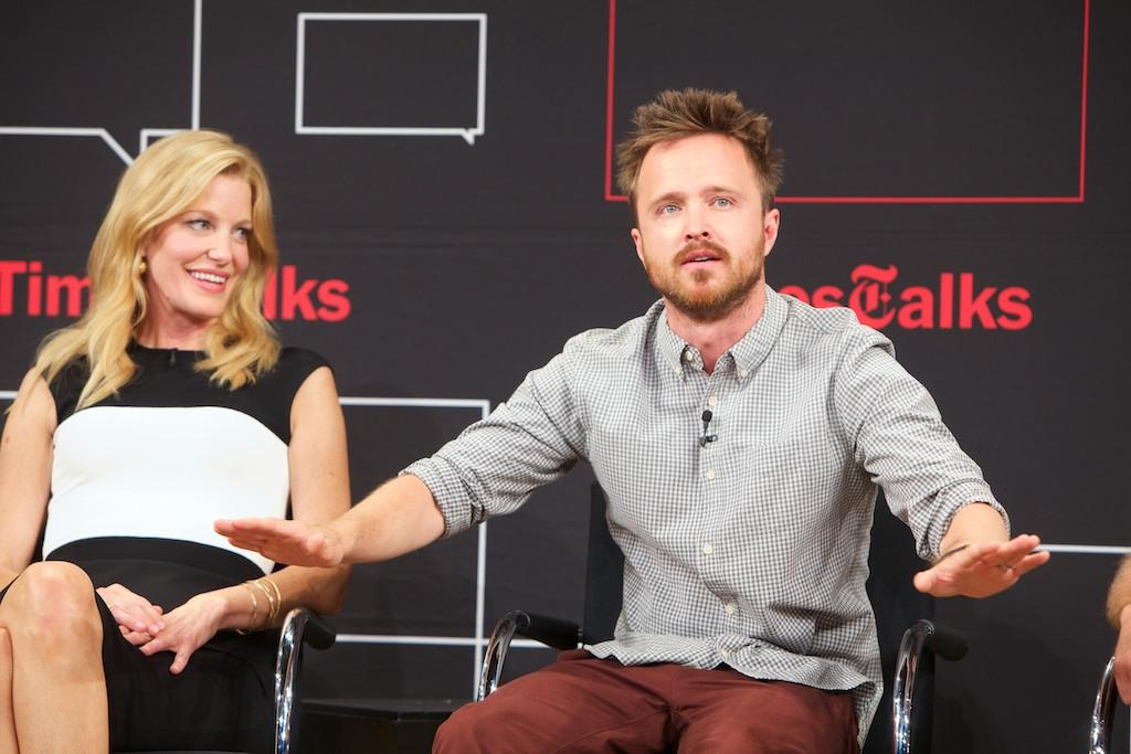 "Anna Gunn and Aaron Paul attend TimesTalk Presents An Evening With ""Breaking Bad"" at Times Center on July 30, 2013 in New York City."