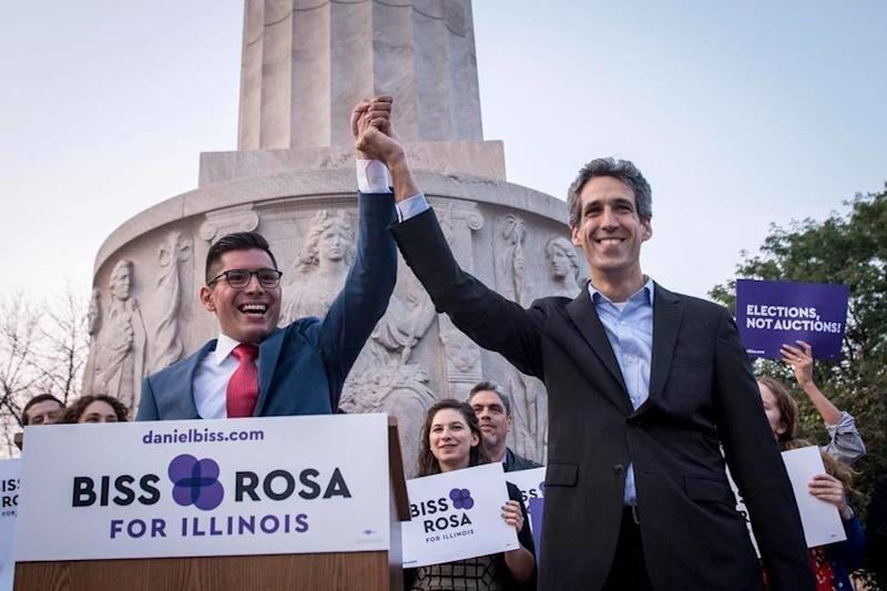 Daniel Biss, right, a Democrat running for governor of Illinois, named Chicago Alderman Carlos Ramirez-Rosa as his running mate on Aug. 31. Hedropped him less than a week later. (Biss for Governor)