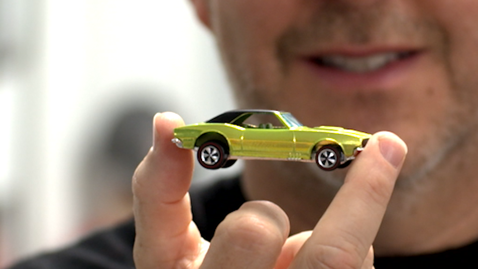 Bruce Pascal and his 1968 Camaro, a star in his massive Hot Wheels collection. (Photo: Yahoo Lifestyle)