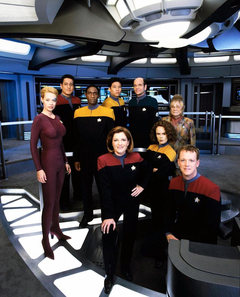 <p>Running concurrently with <em>Deep Space Nine</em> for much of its run meant that <em>Voyager</em> largely followed the look of that show, at least in regards to the uniformed officers. (Being on the other side of the galaxy also limited their exposure to new clothes.) The aliens, on the other hand, got to model more interesting clothes, from Neelix's Talaxian duds to Seven of Nine's form-fitting Borg-suit.<br /><br />(Photo: Paramount/Courtesy Everett Collection) </p>