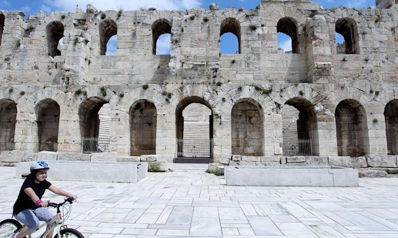 The Odeon of Herodes Atticus, on the south-west slope of the Acropolis, on 7 May 2020.