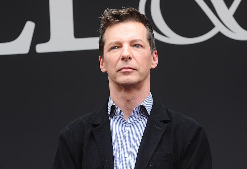 Actor Sean Hayes said his mom is now extremely supportive despite her initial response to hearing he is gay. (Jason LaVeris/FilmMagic via Getty Images)