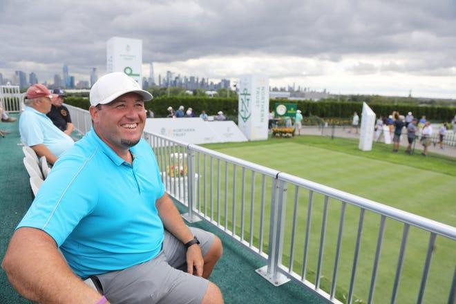Jeff Miller came form Nampa, Idaho to see golf during the opening round of the Northern Trust Golf Tournament part of the PGA Tour being played at Liberty National Golf Club in Jersey City on August 19, 2021.