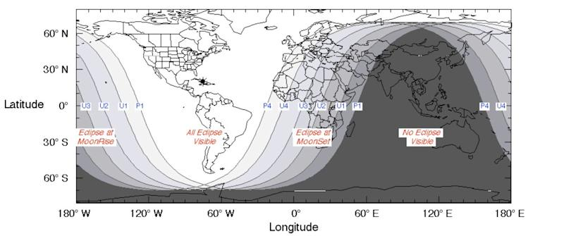 A NASA map shows the regions of the world where the total lunar eclipse of Jan. 20 to 21 was visible. (Photo: Courtesy NASA)